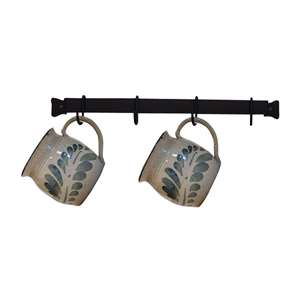 "Cup or Utensil Rack 16"" Long Wall Mount w/4 hooks Black Metal"
