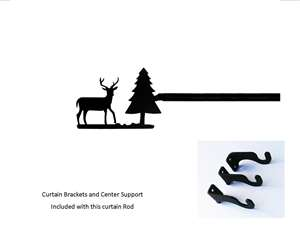 Deer & Pine Tree Curtain Rod 61 In. to 112 In. LG (Hardware INCLUDED)