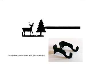 Deer & Pine Tree Curtain Rod - 21 In. to 35 In. SM (Hardware INCLUDED)