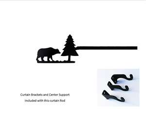 Bear & Pine Tree Curtain Rod - 61 In to 112 In. LG (Hardware INCLUDED)