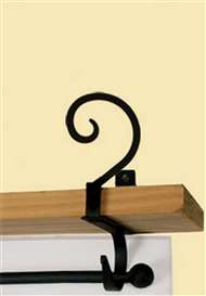 Scroll Black Metal Curtain Shelf Brackets 1 Pair