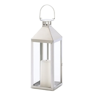Silver Soho Stainless Steel Hurricane Candle Lantern