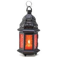 Sunset Amber Metal Moroccan Candle Lantern