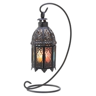 Multicolored Panels Metal Moroccan Candle Lantern w/Stand