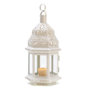 Clear Glass White Moroccan Hanging Candle Lantern
