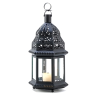 Clear Glass Moroccan Birdcage Metal Candle Lantern