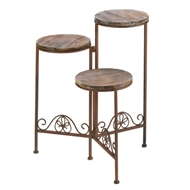 Rustic Wood Wrought Iron Folding Planter Stand
