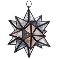 Clear Glass Moroccan Star Bronze Hanging Candle Lantern