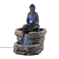 "Zen Buddha Lighted Water Fountain 29.4"" Tall"