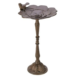 Bird & Flower Petal BrownCast Iron Bird Bath