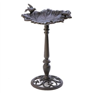 Birds & Leaf Cast Iron Bird Bath