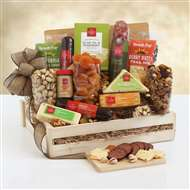 Deluxe Meat Cheese Wooden Gift Crate