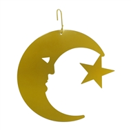 Moon and Star Yellow Metal Hanging Silhouette