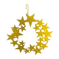 Wreath of Stars Yellow Metal Hanging Silhouette