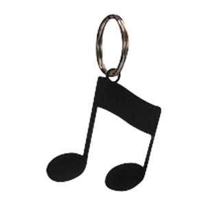 Black Metal Key Ring: Music Note
