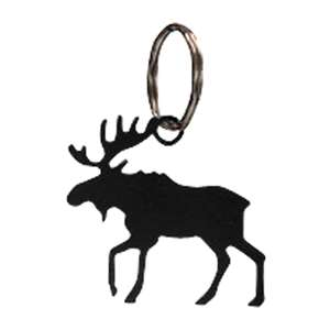 Black Metal Key Ring: Moose