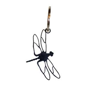 Black Metal Key Ring: Dragonfly