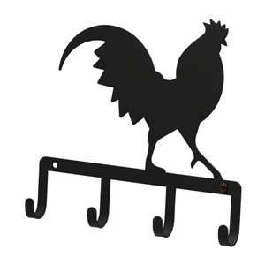 Black Metal Key Ring Holder: Rooster