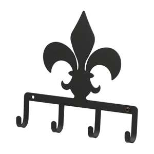 Black Metal Key Ring Holder: Fleur-de-lis