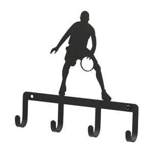 Black Metal Key Ring Holder: Basketball Player