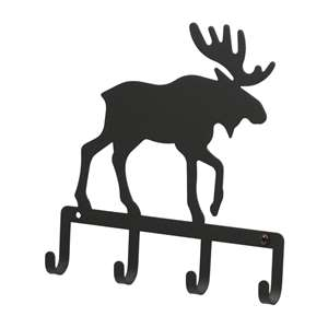 Black Metal Key Ring Holder: Moose