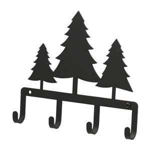 Black Metal Key Ring Holder: Pine Trees