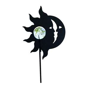 Black Metal Garden Stakes w/ Gazing Marble Ball - Sun / Moon