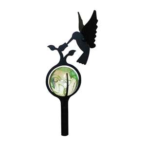 3-D Black Metal Garden Stake w/ Gazing Marble Ball - Hummingbird
