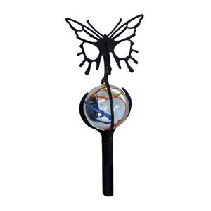 3-D Black Metal Garden Stake w/ Gazing Marble Ball - Butterfly