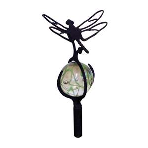 3-D Black Metal Garden Stake w/ Gazing Marble Ball - Dragonfly