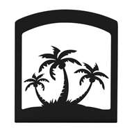 Triple Palm Tree Black Metal Upright Napkin Holder