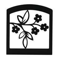 Floral Black Metal Upright Napkin Holder