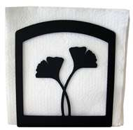 Ginkgo Leaf Black Metal Upright Napkin Holder