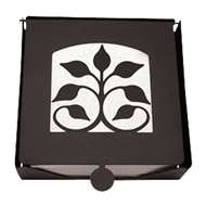 Leaf Fan 2-Piece Black Metal Flat Napkin Holder