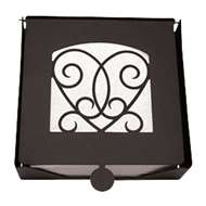 Heart 2-Piece Black Metal Flat Napkin Holder