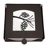 Pinecone 2-Piece Black Metal Flat Napkin Holder