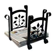 Leaf Fan Black Metal Newspaper Recycle Bin