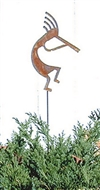 Kokopelli Rusted Metal Garden Stake