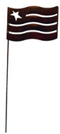 Flag Rusted Metal Garden Stake Small
