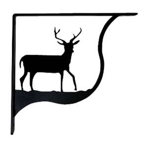 Deer Black Metal Shelf Brackets Large 1 Pair