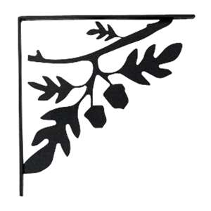 Acorn Black Metal Shelf Brackets Large 1 Pair
