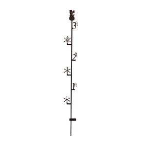 3 ft Snowman Black Metal Snow Gauge