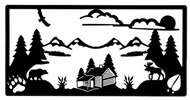 Wall Art Scenic Log Cabin in Black Metal
