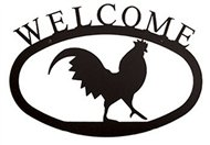 Rooster Black Metal Welcome Sign Large