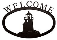 Lighthouse Black Metal Welcome Sign Large