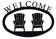 Adirondack Chairs Black Metal Welcome Sign Large
