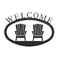 Adirondack Chairs Black Metal Welcome Sign Small