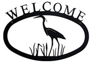 Heron Black Metal Welcome Sign Large