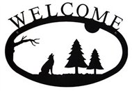 Timber Wolf Black Metal Welcome Sign Large