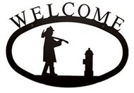 Fireman Black Metal Welcome Sign Large